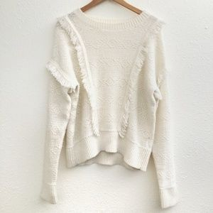 🌼GAP White Fringe Crew Neck Sweater Size XL